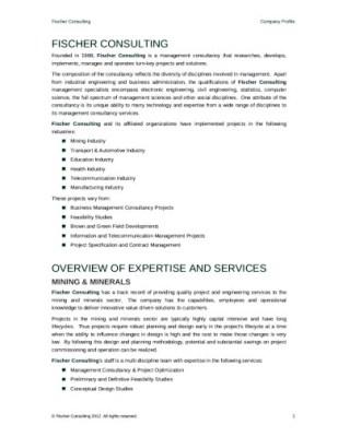 Contoh deskripsi Company Profile Konsultan