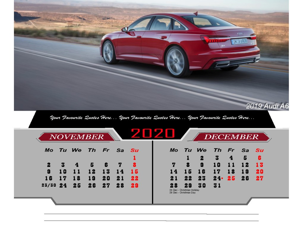 2020 Desktop Calendar Luxury Cars
