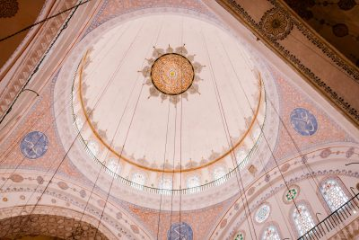 Main dome with colorful ornamental elements in blue mosque