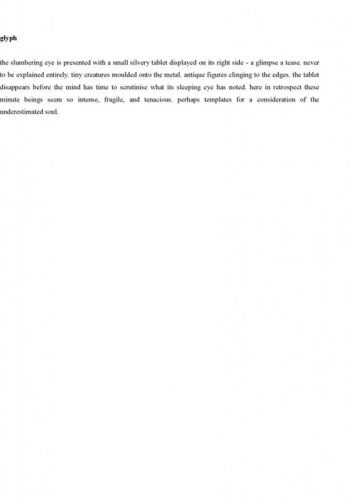 corrected version of joanne burns' prose poem 'glyph' - accepted for Mascara 16