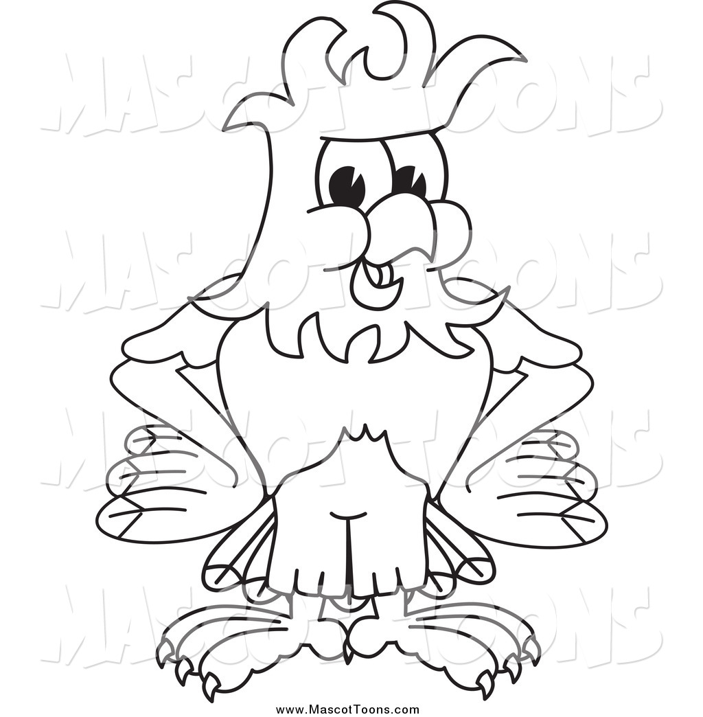 Vector Cartoon Of A Black And White Bald Eagle Hawk Or
