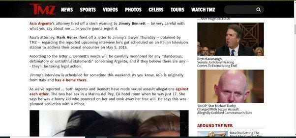 MeToo Asia Argento threatening the minor she raped