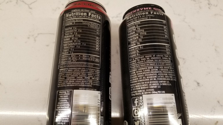 Ingredients on label of Bang and Reign energy drinks compared.