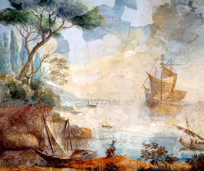 Carlo Storni, Paesaggio con pini marittimi e imbarcazioni (part.) Frascati, Villa Lancellotti, soffitto del Gabinetto
