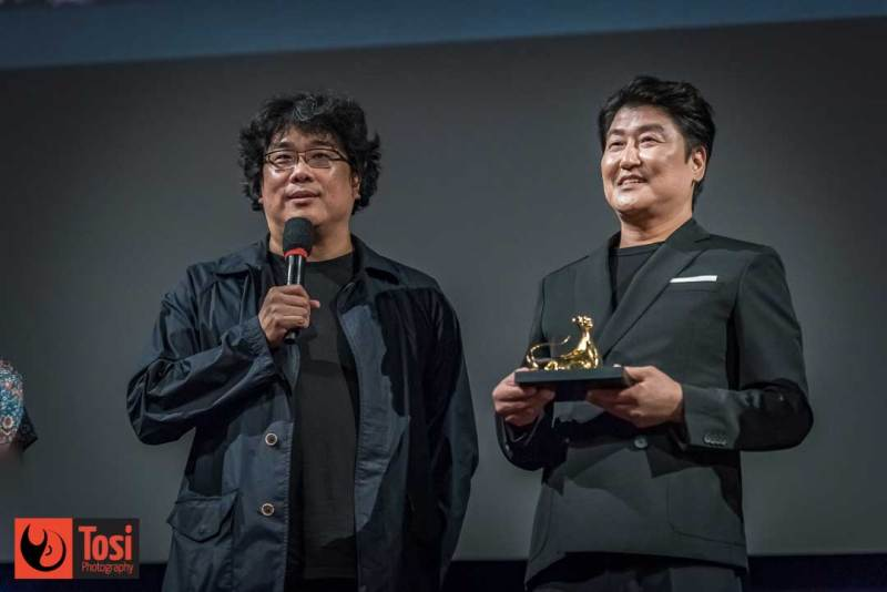 Il regista BONG Joan-ho con l'attore SONG Kang-ho alla presentazione di Memories of Murder - Photo by Tosi Photography