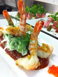 Gurkenspaghetti mit Krevetten