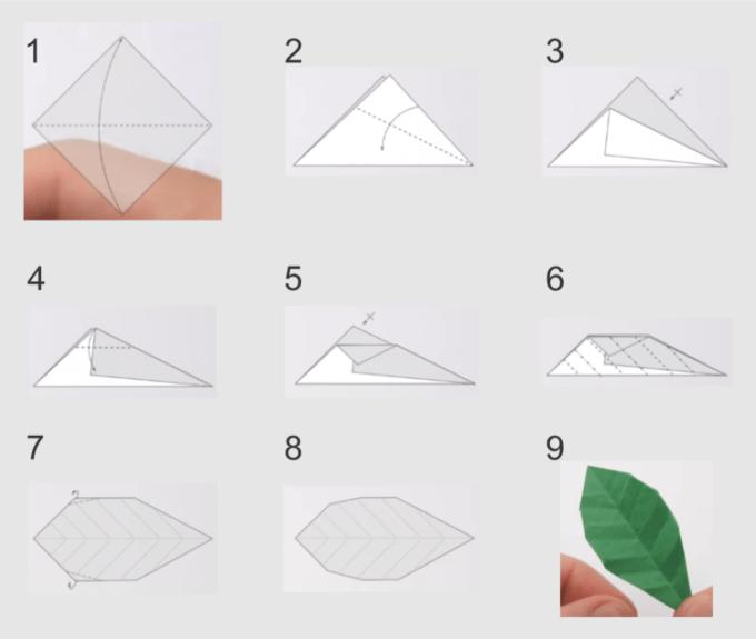 Cara membuat origami bunga mawar bagian daun