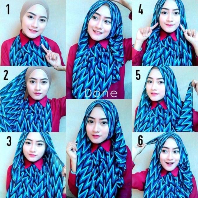 Jilbab Segi Empat Motif Sederhana