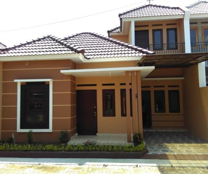 Cat Rumah Minimalis Warna Coklat Tampak Depan