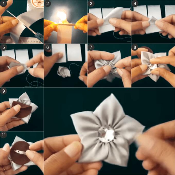 Cara Membuat Bros Bunga Mawar dari Pita Satin