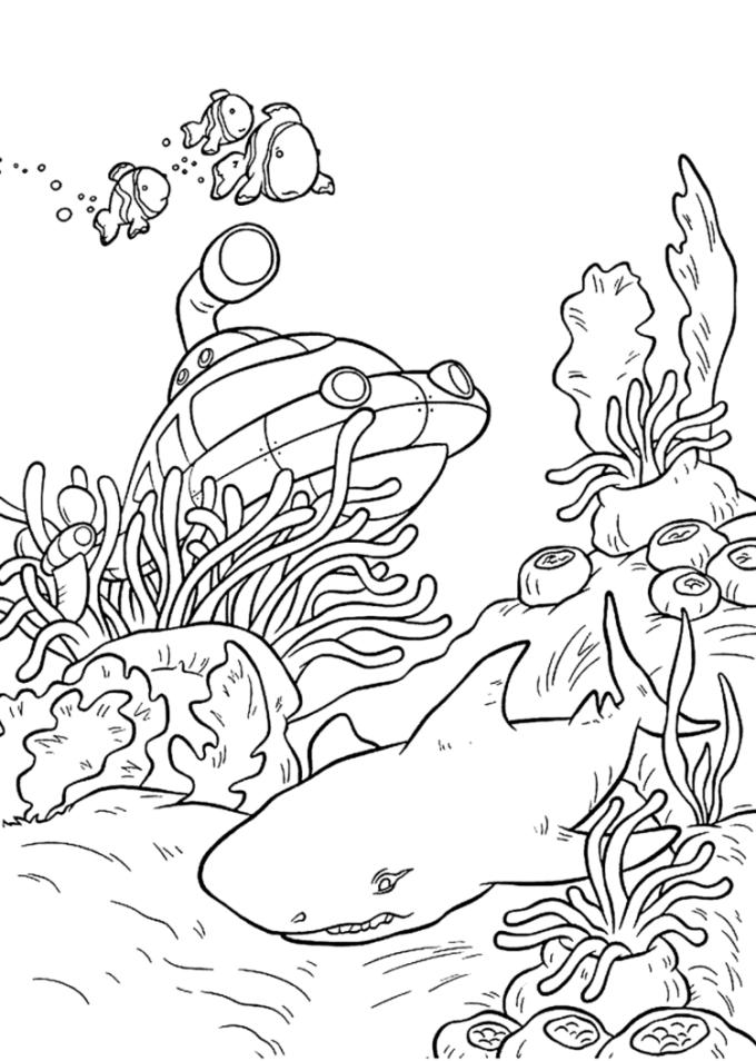 Gambar pemandangan bawah laut untuk mewarnai