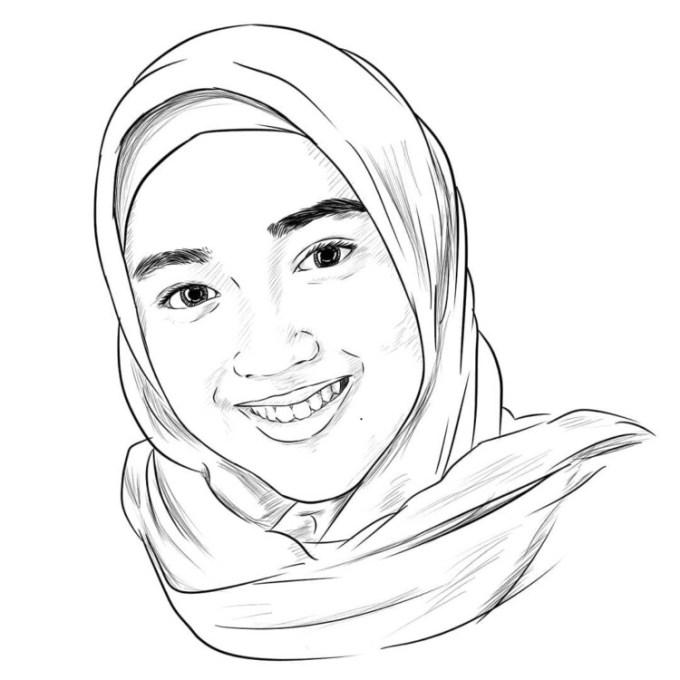 Gambar sketsa muslimah