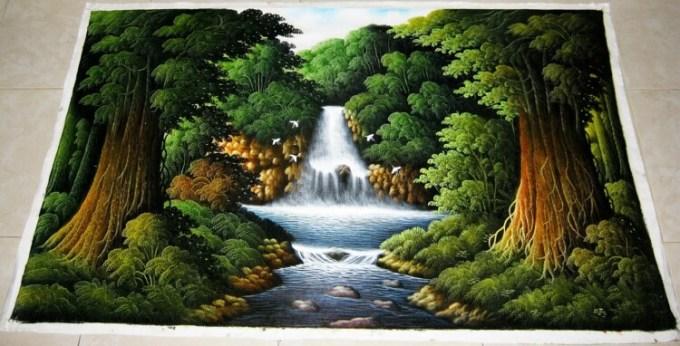 Lukisan air terjun berwarna