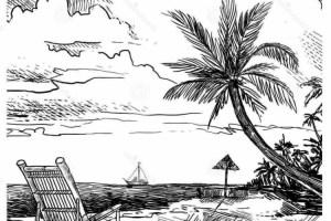 Pemandangan hamparan pantai dan laut