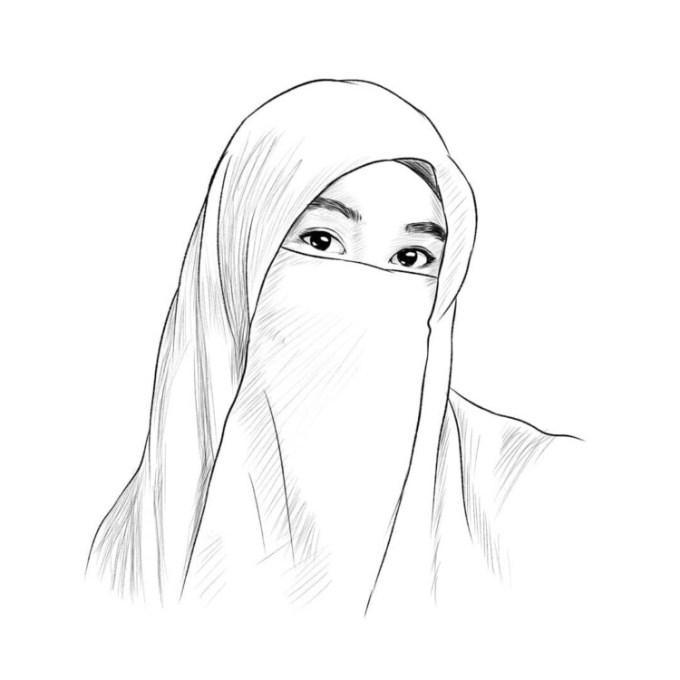 Sketsa muslimah bercadar