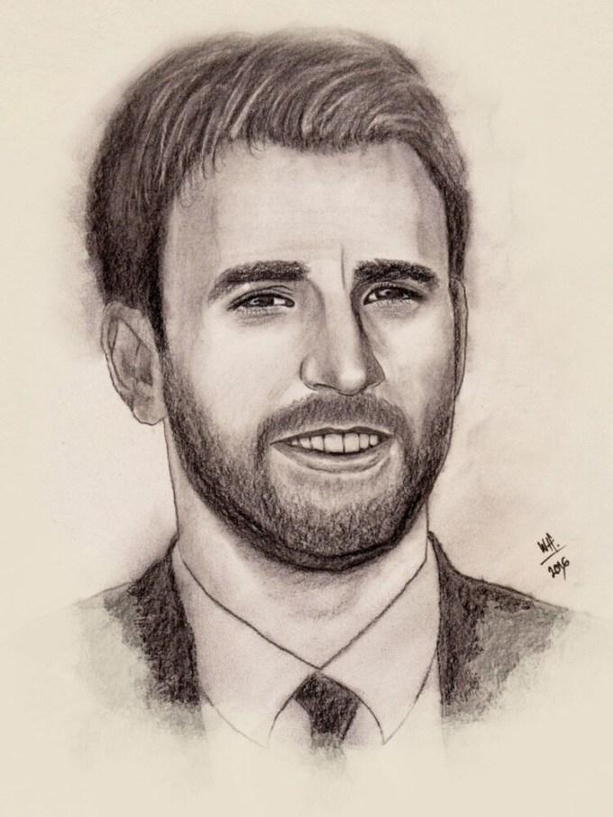 Sketsa wajah pria tampan