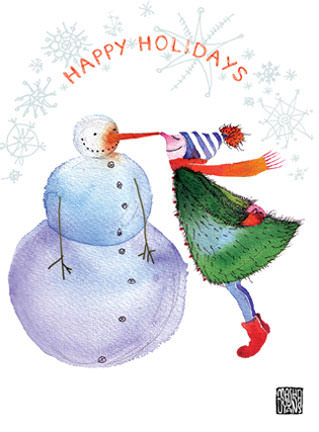 Snowman Eskimo Kiss Masha Watercolor MischiefMasha
