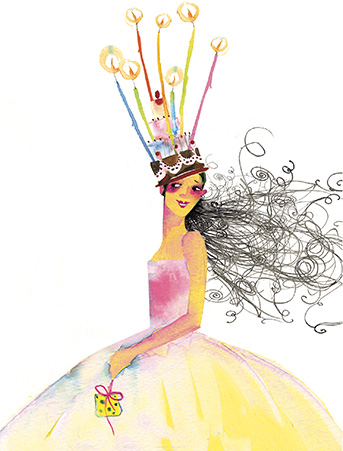 Birthday Queen Watercolor Greeting Card By Masha Dyans