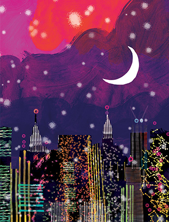 New York Night Skyline Purple Sky City Lights Watercolor