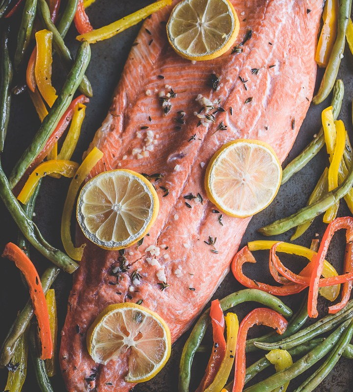 One Pan Lemon and Thyme Salmon with Vegetables