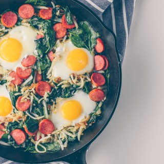 Shredded Potato Hash with Spinach, Sausage, and Egg