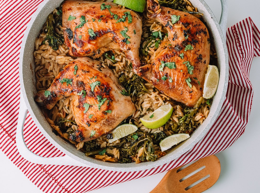 One Pan Cilantro Lime Chicken with Orzo and Broccolini