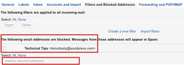 Gmail Unblock Sender