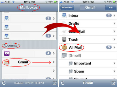 iOS Email mailbox