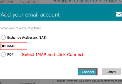 iCloud email to Windows 8 mail imap