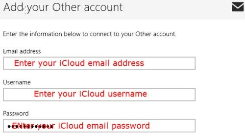 iCloud email to Windows 8 mail form