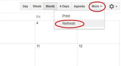 Web Google Calendar refresh