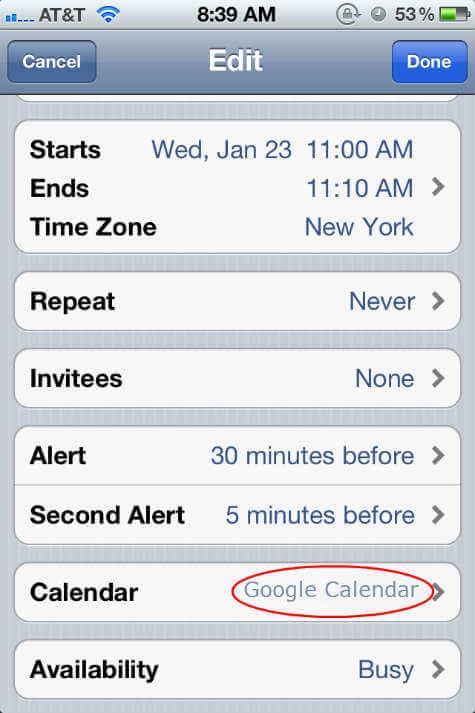 iphone Google Calendar