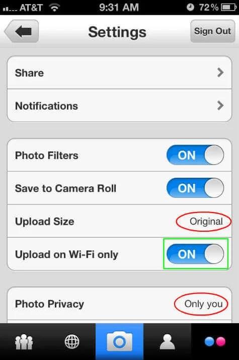 flickr-ios-setting