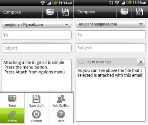 android email attach