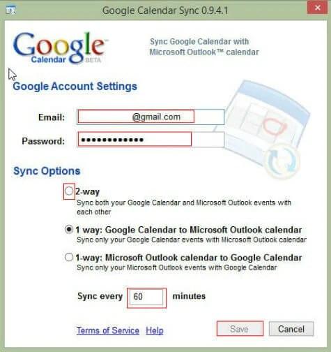 Google calendar sync windows