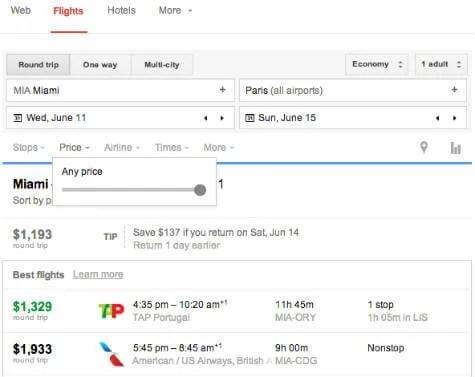 Google Flight Search