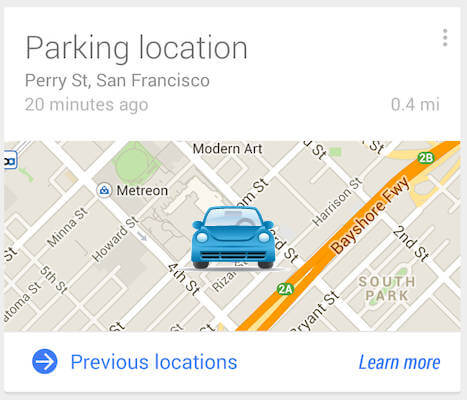 Google now track car parking