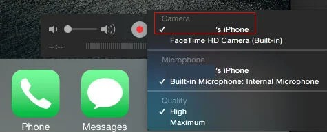 quicktime record iPhone select