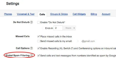 google voice spam filter