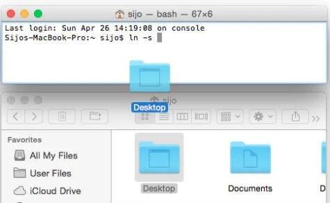 drag mac desktop to terminal