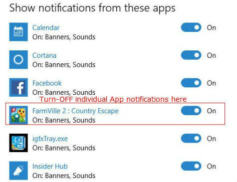 windows10 notification select