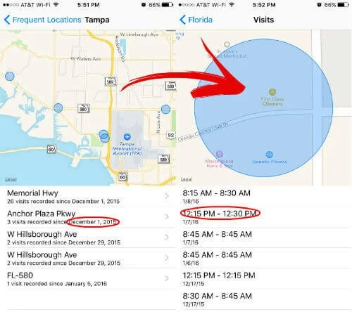 ios map log date time