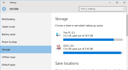 windows storage space