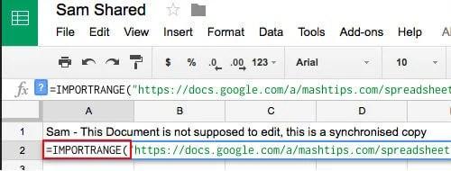 google sheet import range
