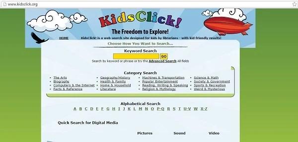 kidzclick أفضل وأمن محركات بحث للاطفال