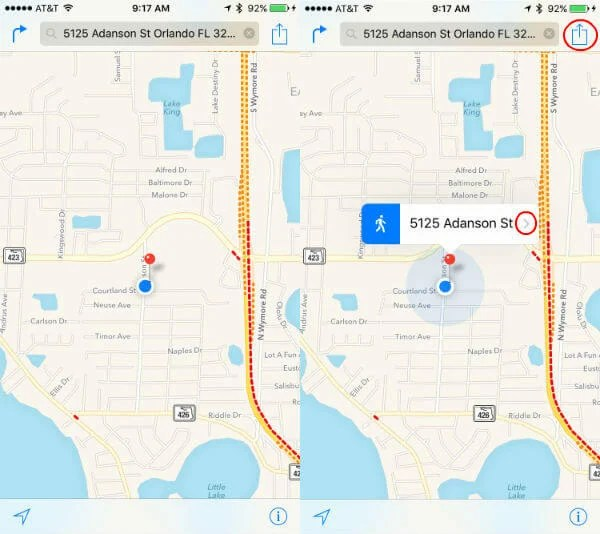 How to share location with google mapwazeapple maps mashtips apple map pin location gumiabroncs Choice Image