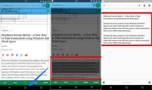 copy past in android
