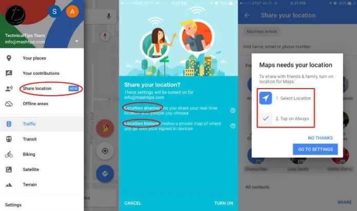 Google Realtime Location Sharing Setting
