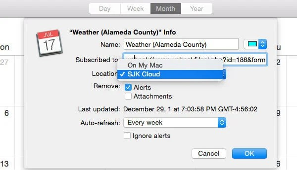Weather iCal Subscription Setting