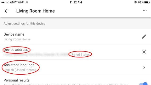 Google Home Device Address Language